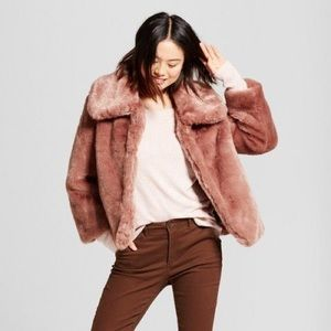 Small Dusty Rose Faux Fur Coat A New Day Brand